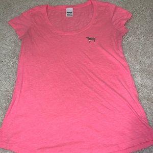 Victoria's Secret Pink neon pink scoop neck logo t